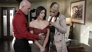 Gaffer headmistress Bridgette B and abusive teacher Derrick fuck naughty student Brooklyn Gray