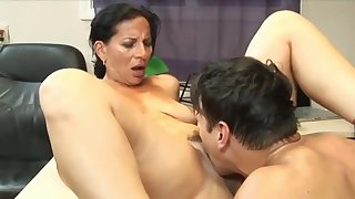 Stunning 63yo Mature Mom with Hot Horde having Orgasm with her 22yo Boss