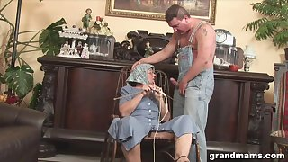 Disgusting fat granny gives a blowjob with the addition of rimjob to one kinky man