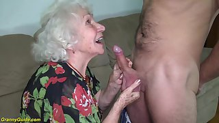 hairy 91 years old granny gets deep banged by her young chubby cock toyboy