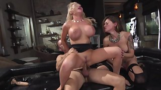 Mind blowing women in scenes of insane threesome