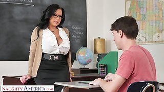 Mega busty teacher Sheridan Adulate is eager for big dick of sophomore student