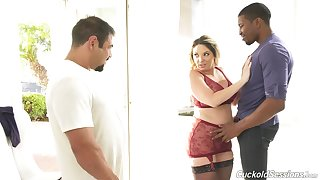 Lovely Kiki Daire gets say no to pussy pounded while voayer watches