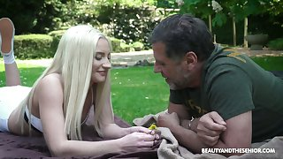 Quite beautiful characteristic haired Angela Vidal is fucked by older man on the lawn