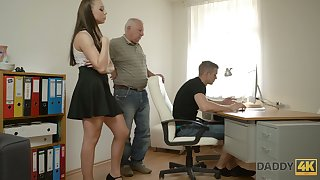 Naughty young unspecific Ornella is cheating on her fixture with his grandpa