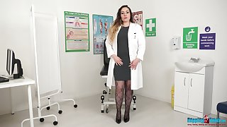 Chunky nurse in uniform Sophia Delane gets naked and shows chunky pair and big ass