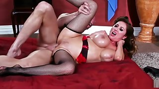 Amazing brunette masseuse deep-throats and rides their way client