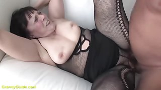 chubby hairy 68 years old grandma in sexy fishnet bodystocking gets pest stretched