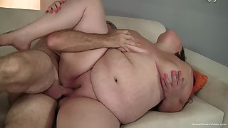 BBW deals dick as if a whore and in the end swallows