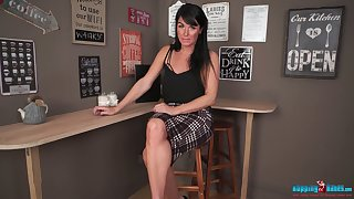 Horny brunette Shelly is office slattern who would love beside show off her butt