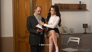 Naughty Russian brunette Milana Attach� case provides old beggar with a blowjob