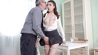 Nice sophomore student Alita Bettor loses anal virginity with old teacher