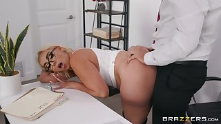 Blonde cougar enjoys a front of naughty sex elbow the office