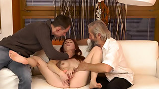 Hot blonde man Unexpected receive with an older