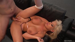 Mature blonde Bridgette B spreads her legs and gets penetrated