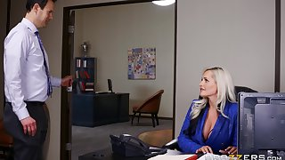Office sex with fake tits VIP lady Alena Croft in blue lingerie