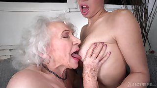 elderly and young lesbian sex with non-working GILF and 18yo brunette - retirement gift
