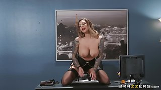 Busty office MILF lands the new guy's huge dick in both her holes