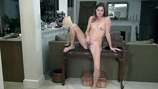Vanessa Bush strips naked on her table - Compilation - WeAreHairy