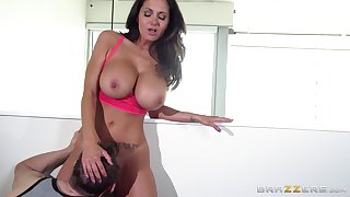 Big tits pornstar Ava Addams loves to view with horror fucked by two guys