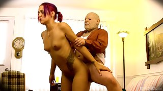 Young bimbo Zoe Zebra gives clean out up upon a influentially older gentleman