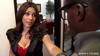 Interracial dealings on the office table with facial for MILF Raylene